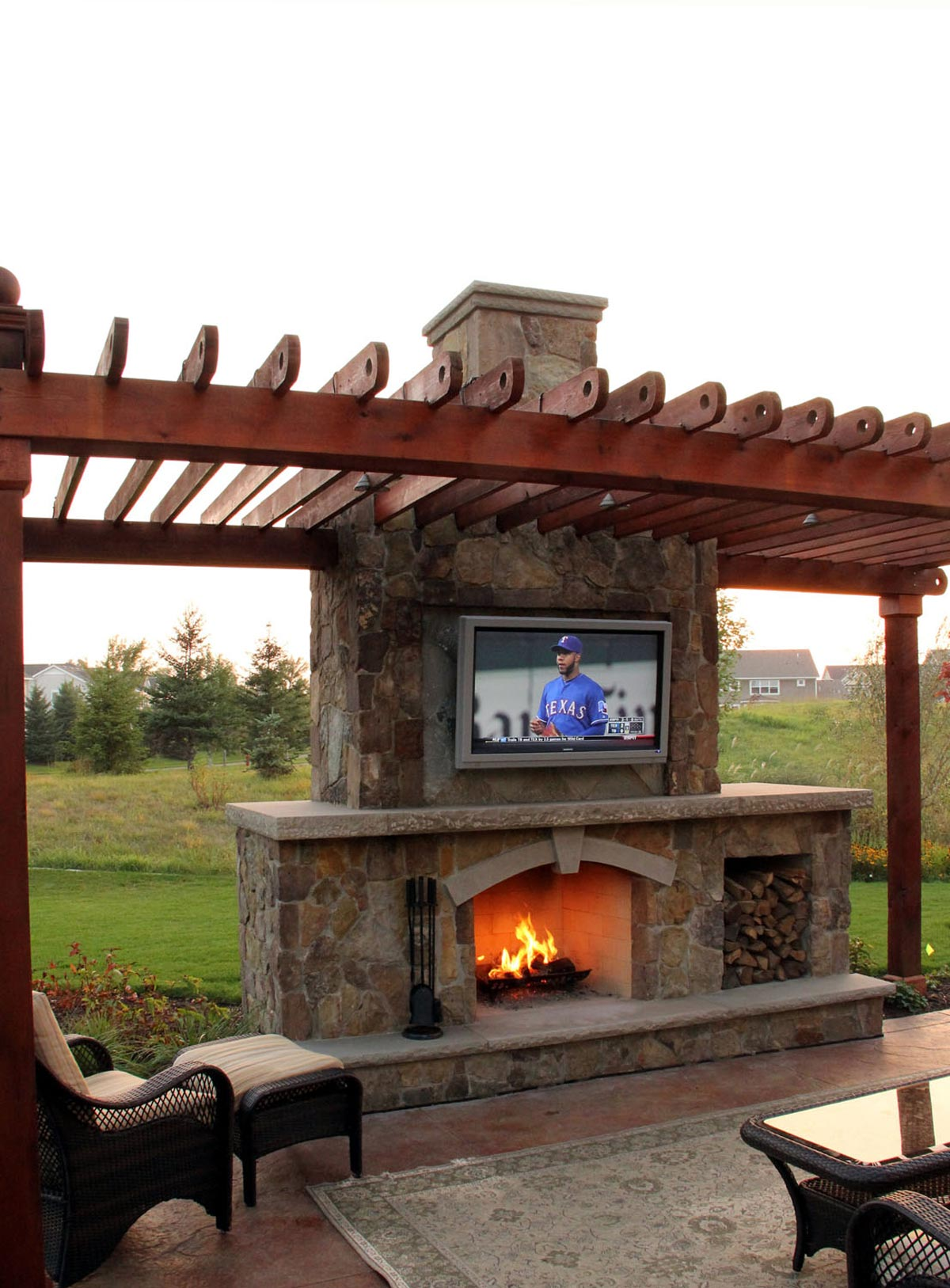Fire ground one - Outdoor fireplace with tv ...