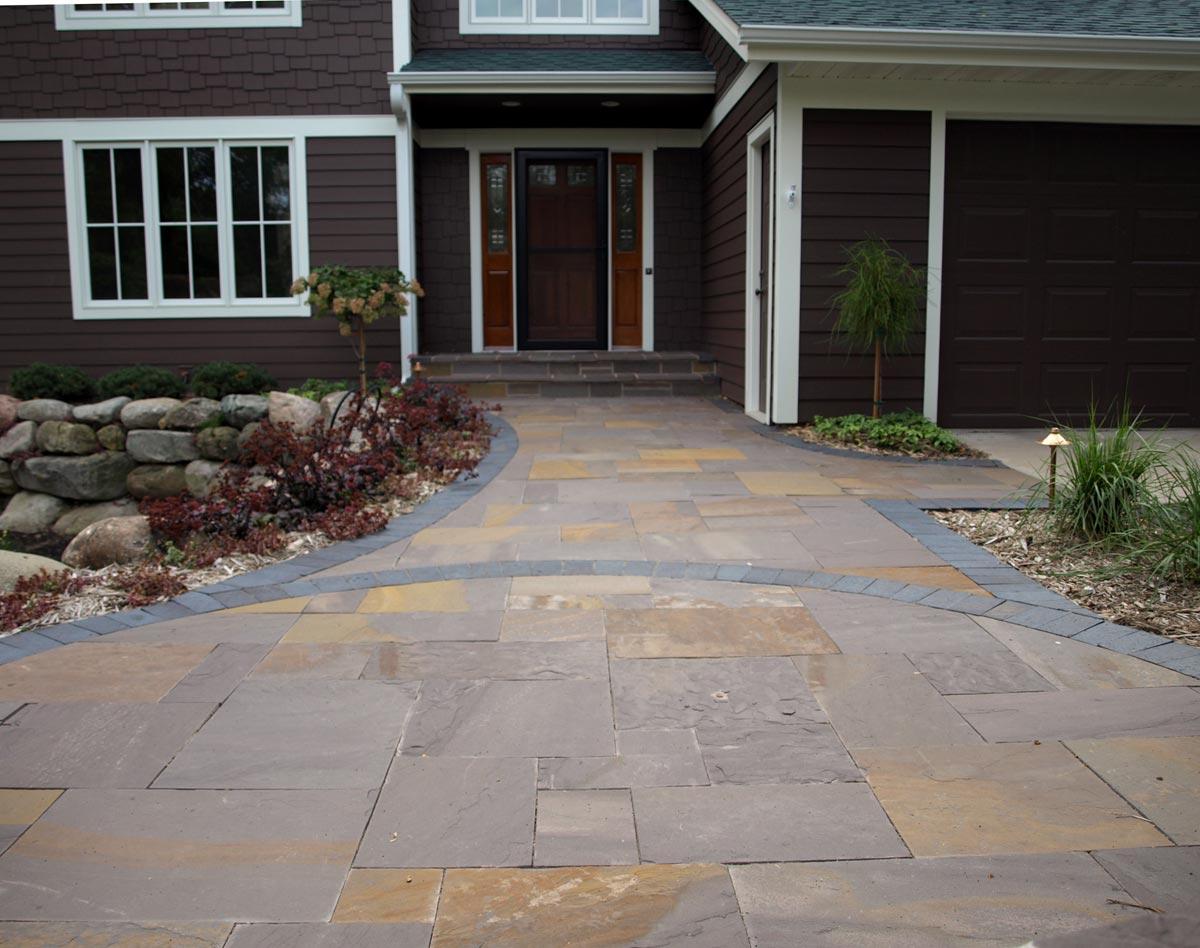 lilac stone brick patio