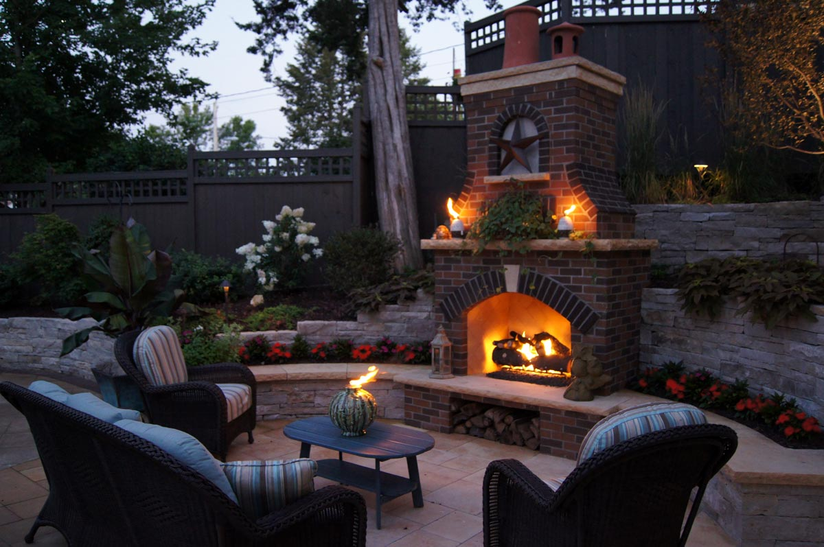 Fire ground one fireplace outdoor brick mozeypictures Gallery