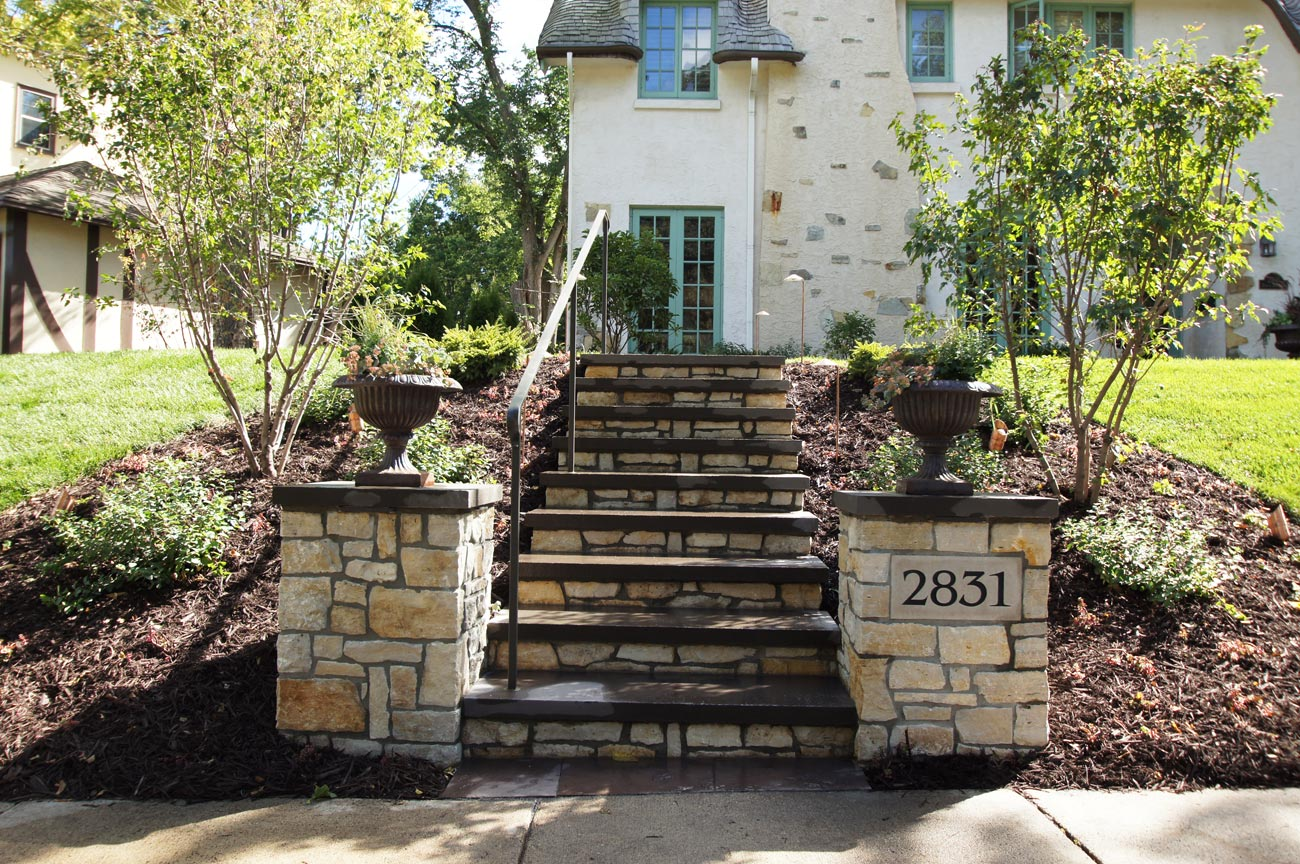 front yard stone columns