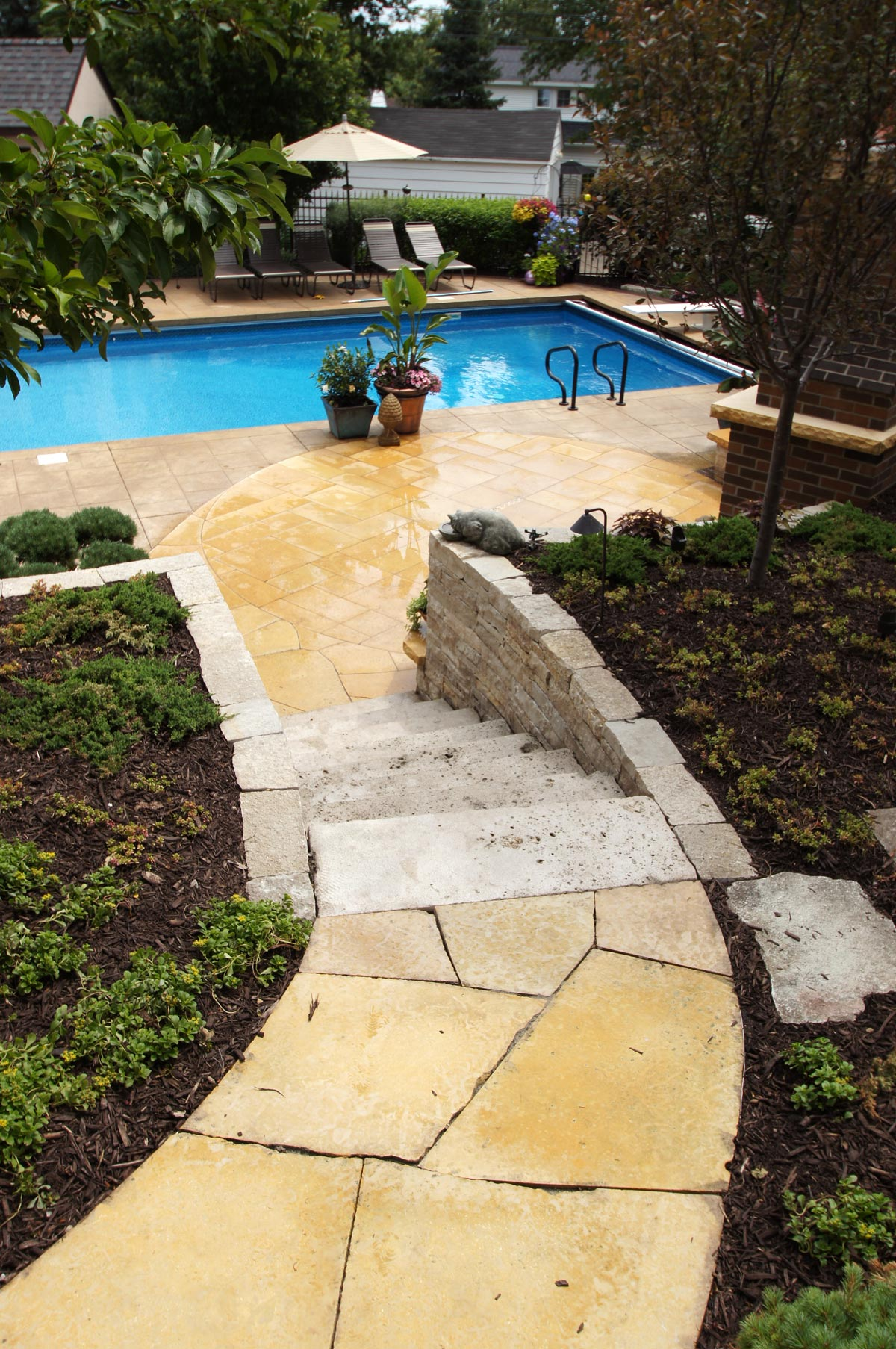 pool limestone concrete deck