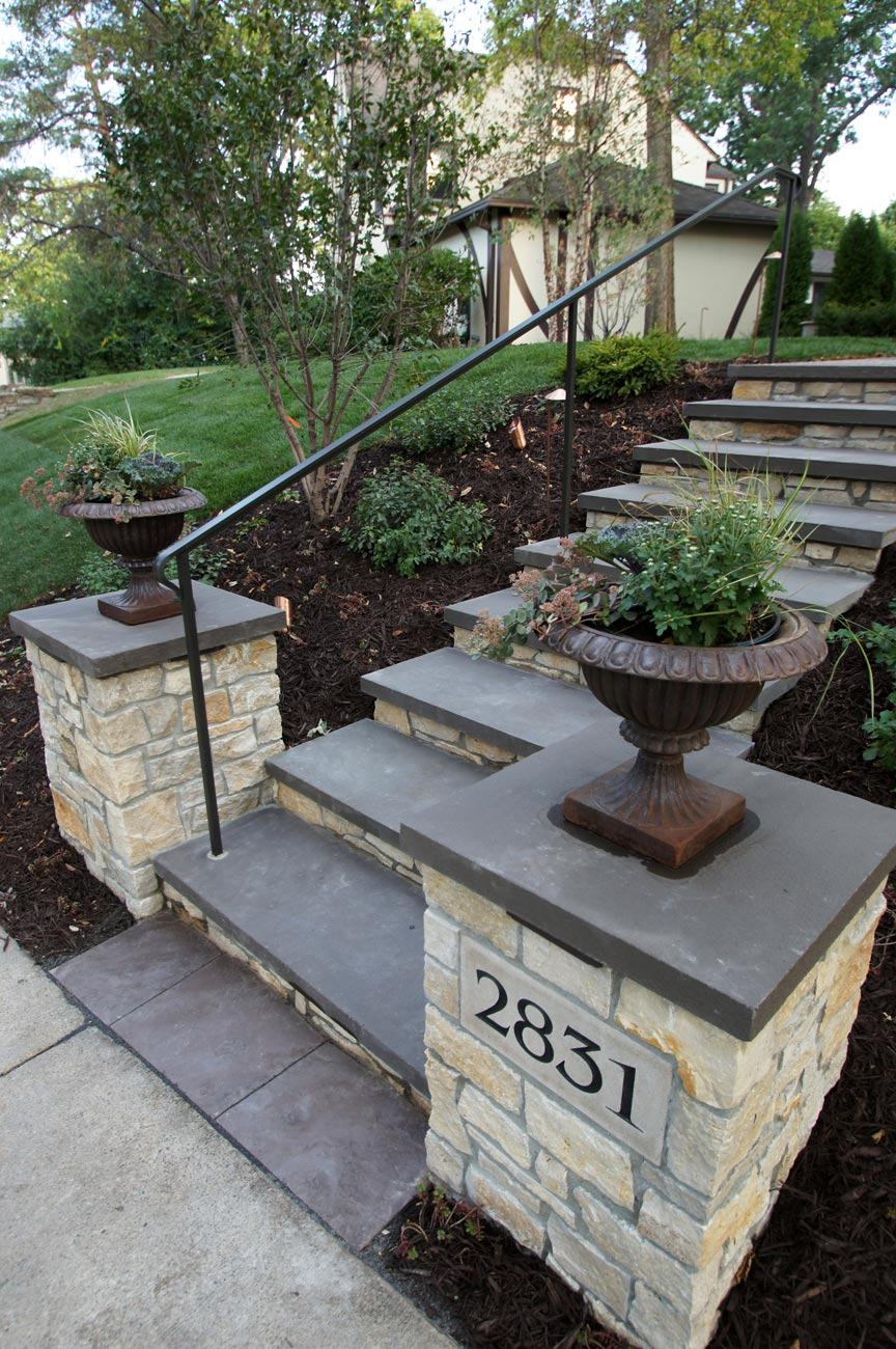 front yard stone entry