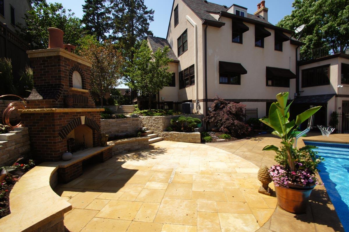 limestone patio pool
