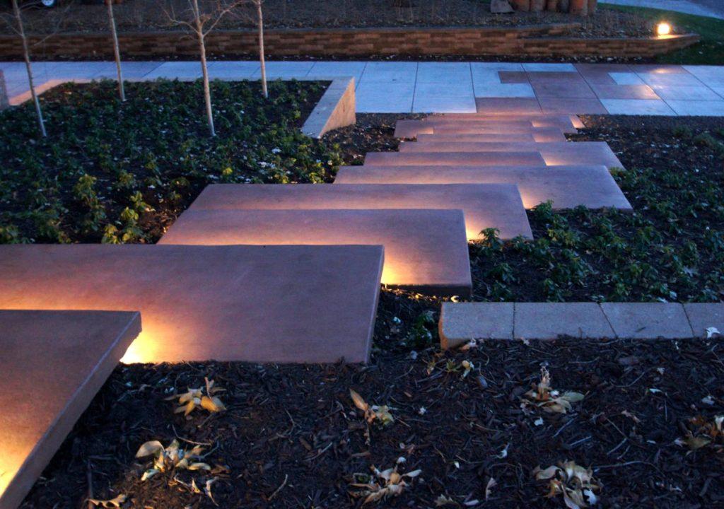 landscape architect designed steps lighting