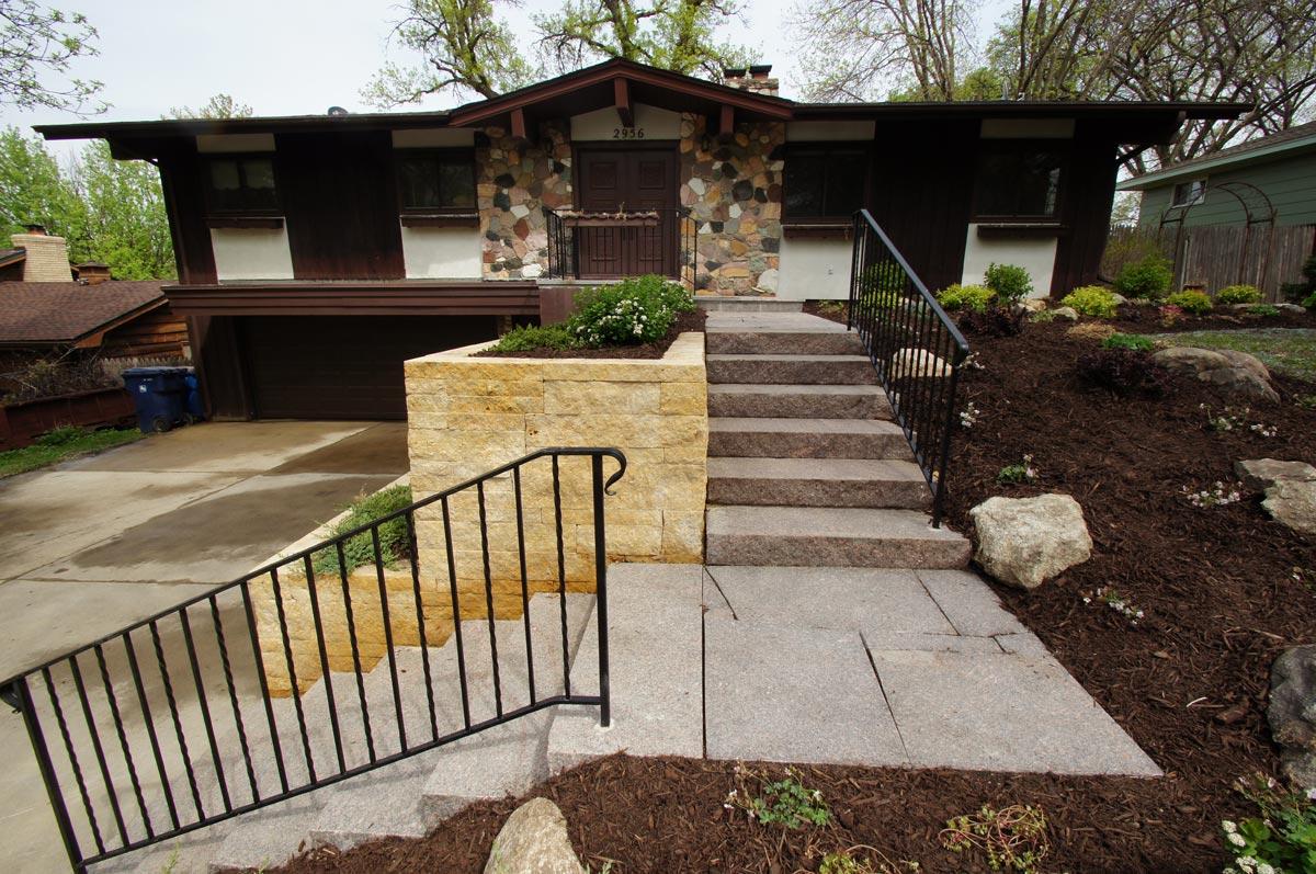kasota limestone walls granite steps