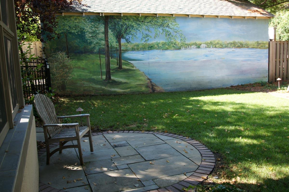 back yard mural patio