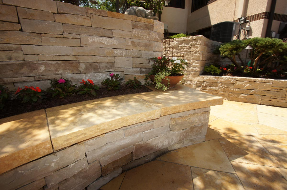 curved stone bench