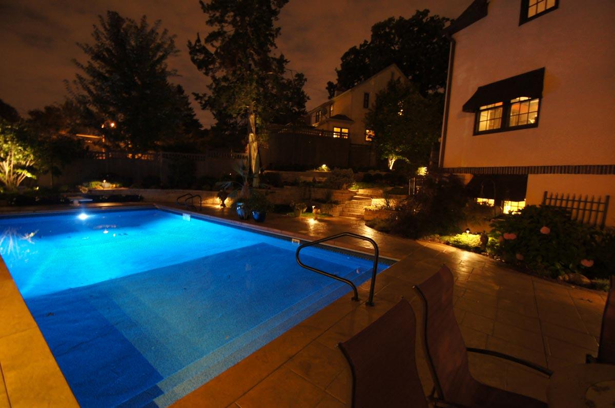 pool lighting concrete deck