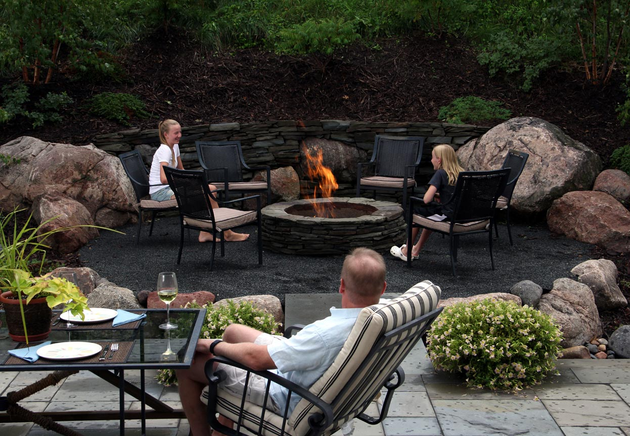 stone gas firepit
