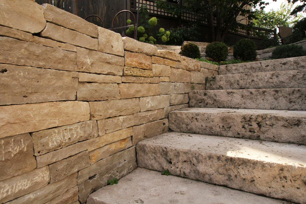 stone wall steps