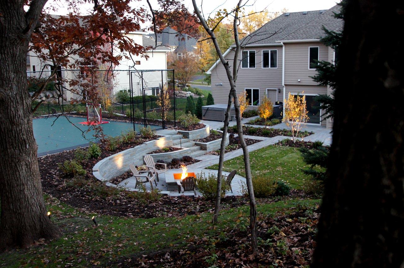 firepit backyard sportcourt