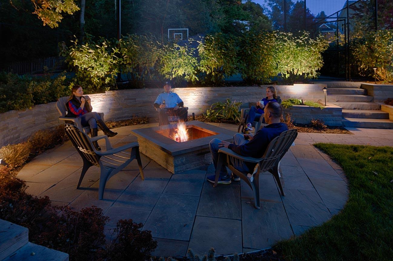 bluestone firepit patio
