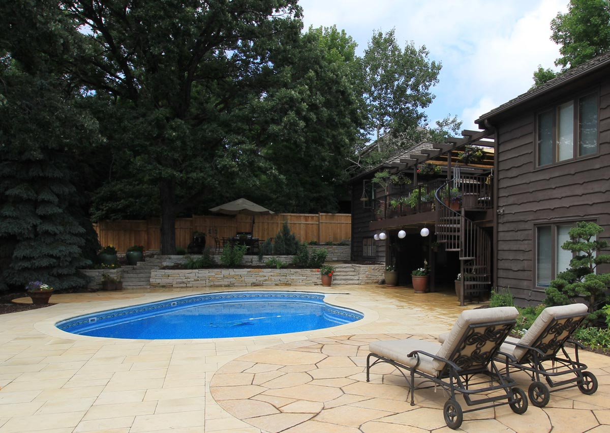 pool stone deck