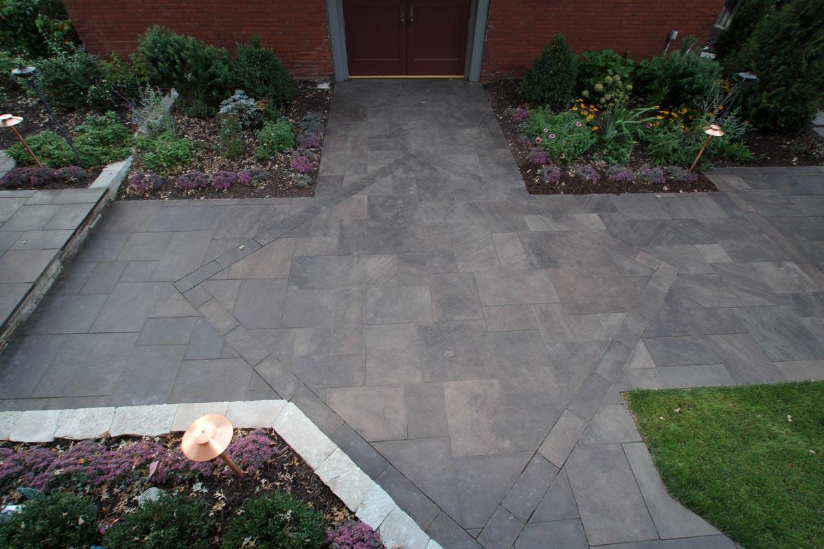 stone patio backyard