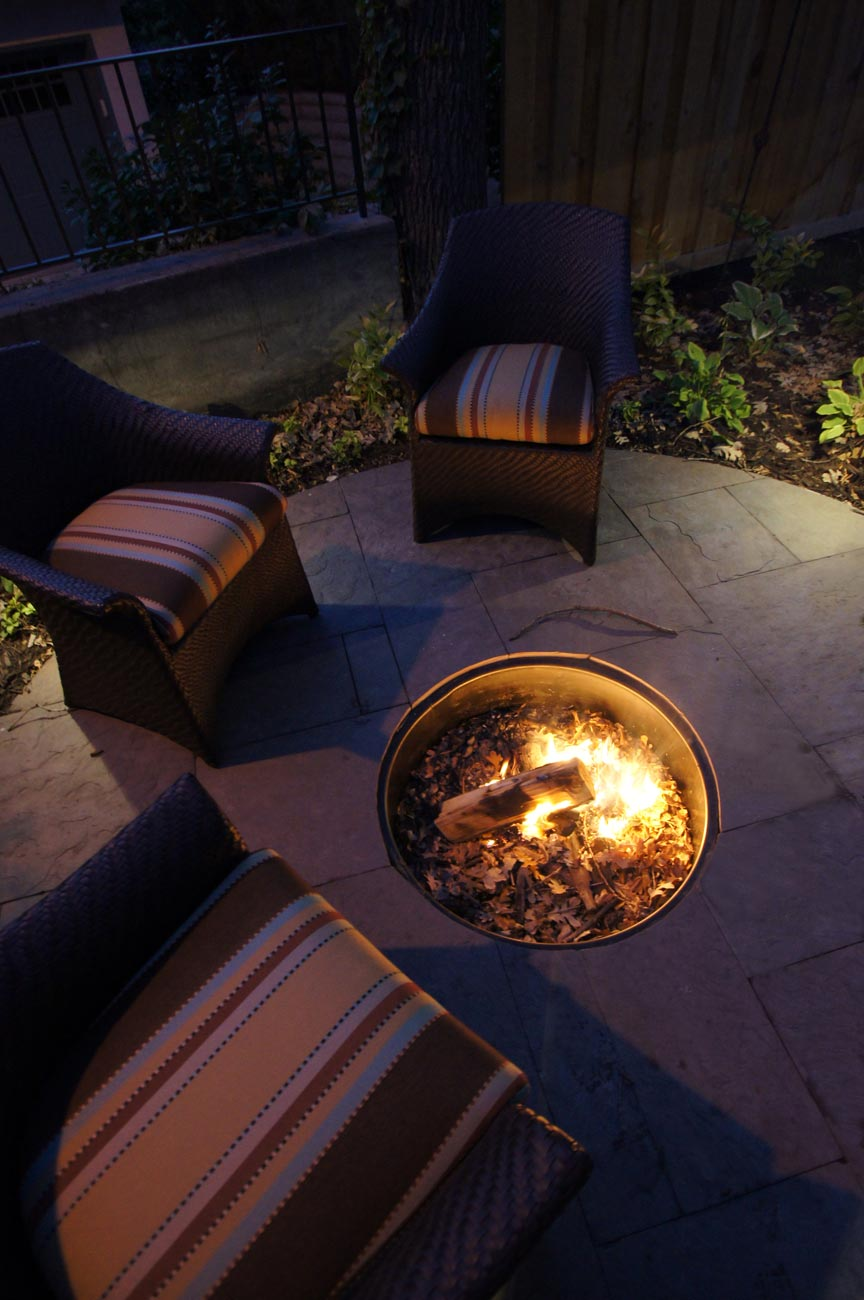 stone firepit patio