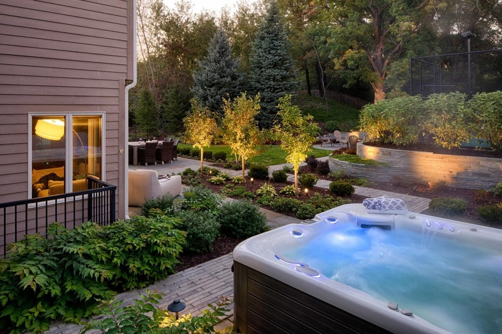 backyard patio hottub
