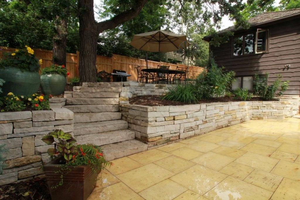 limestone walls steps