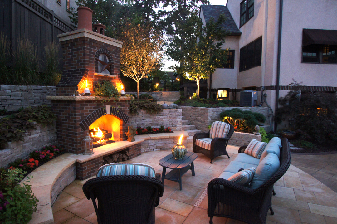 fireplace patio night