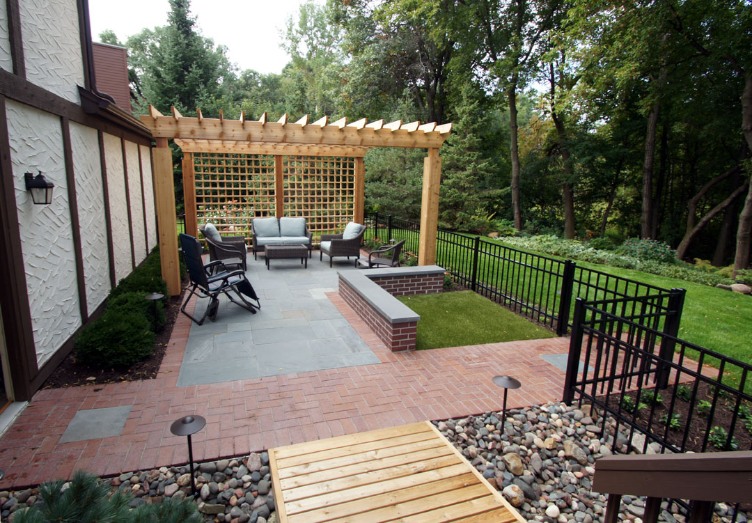 fenced backyard courtyard