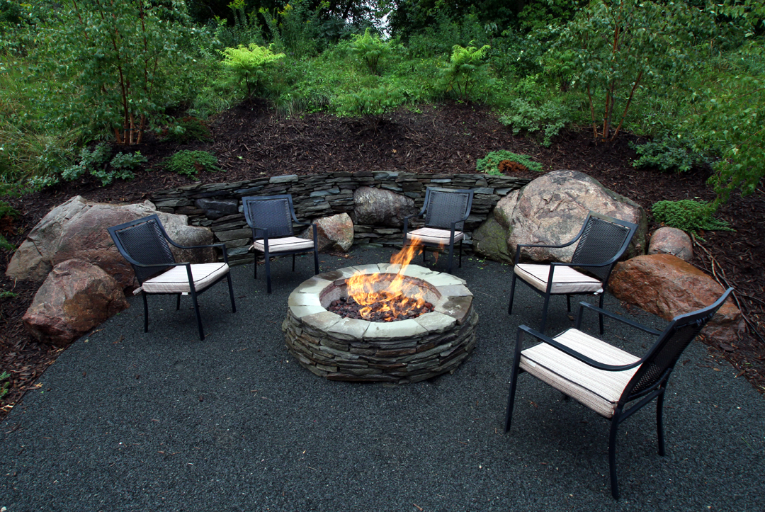 gas firepit aggregate patio