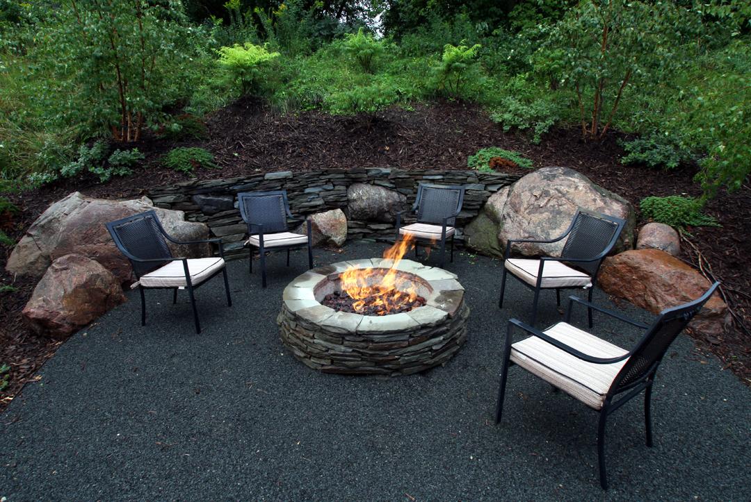 gas firepit aggregate patio