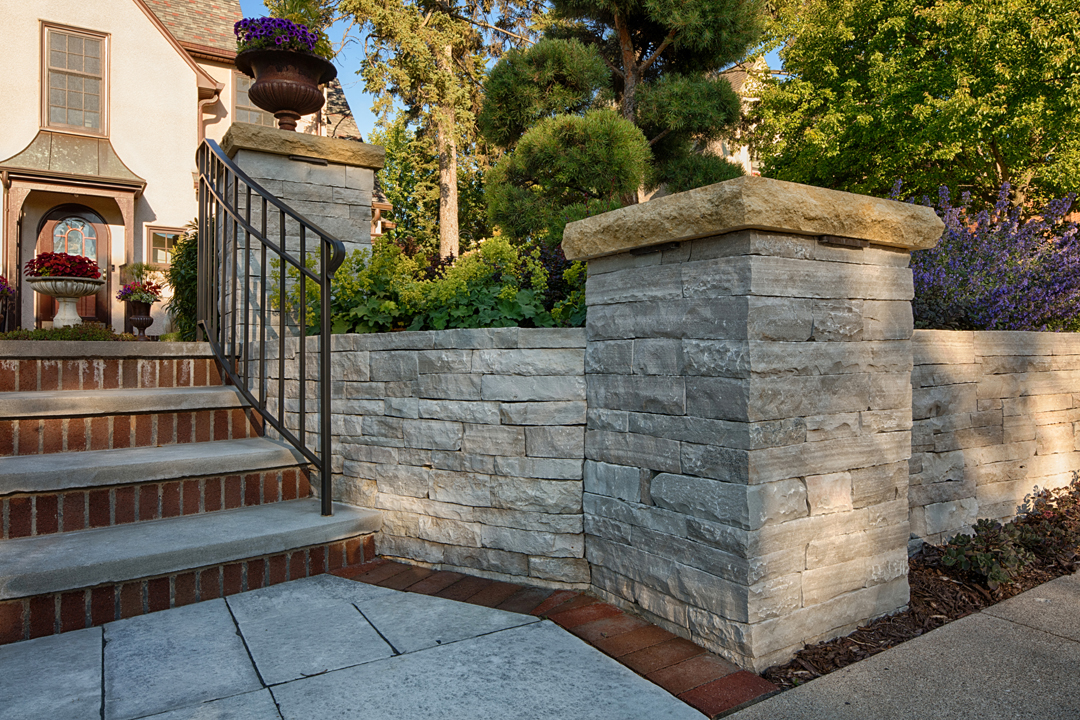 stone columns brick steps